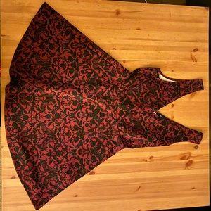 Maroon Forever 21 Romantic Filigree Skater Dress